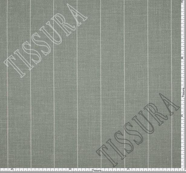 Двусторонняя шерсть из мериносовой шерсти, шелка и льна оливкового цвета в серую полоску #3