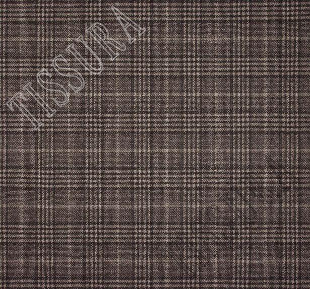 Пальтовая ткань шерстяная в бежево-коричневую клетку «Принц Уэльский» #2