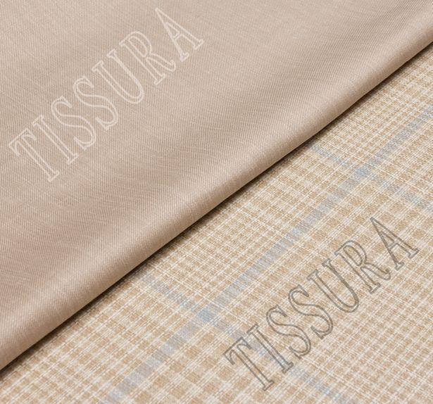 Двусторонняя ткань из шерсти, шелка и льна: песочный и песочно-голубая клетка #1