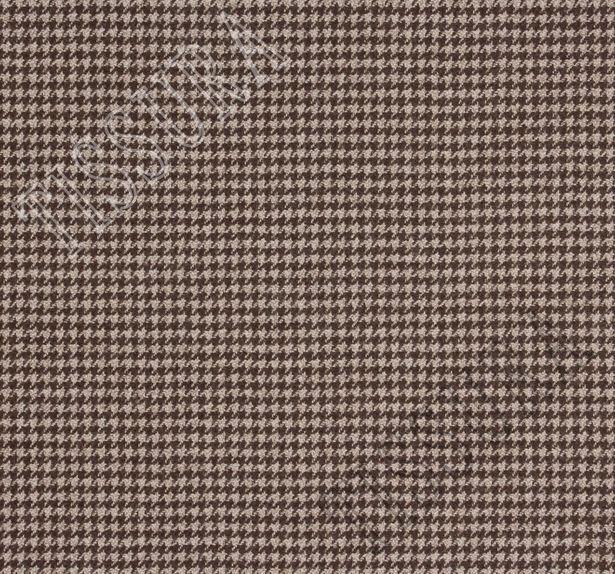 Ткань из шерсти 686027 Pecora Nera® в бежево-коричневую клетку «гусиная лапка» #2