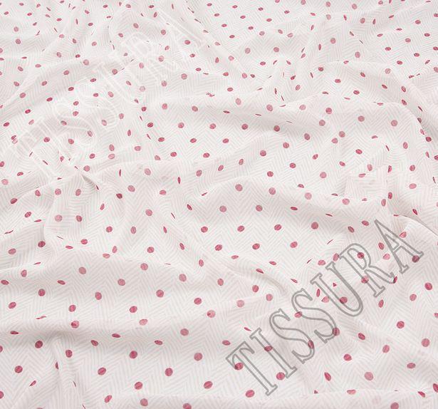 Ткань жоржет из 100% шелка, сочетание горохового принта и елочки на молочно-бежевом фоне: основной цвет принта – красный #1