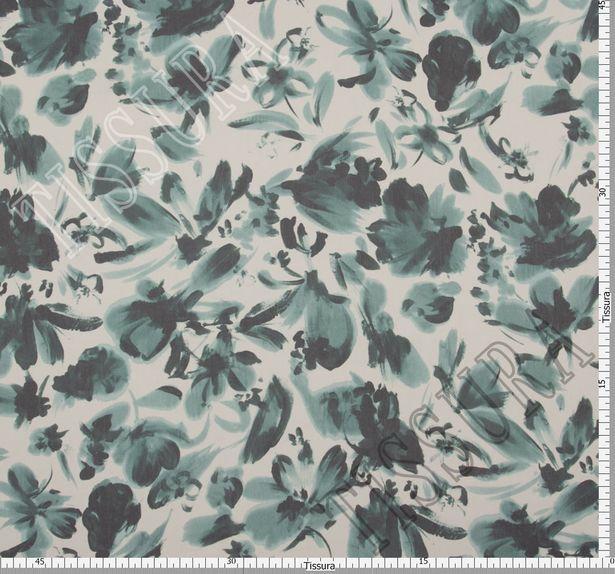 Ткань жоржет из 100% шелка, цветочный принт на молочном фоне: основные цвета узора – зеленый и темно-зеленый #2