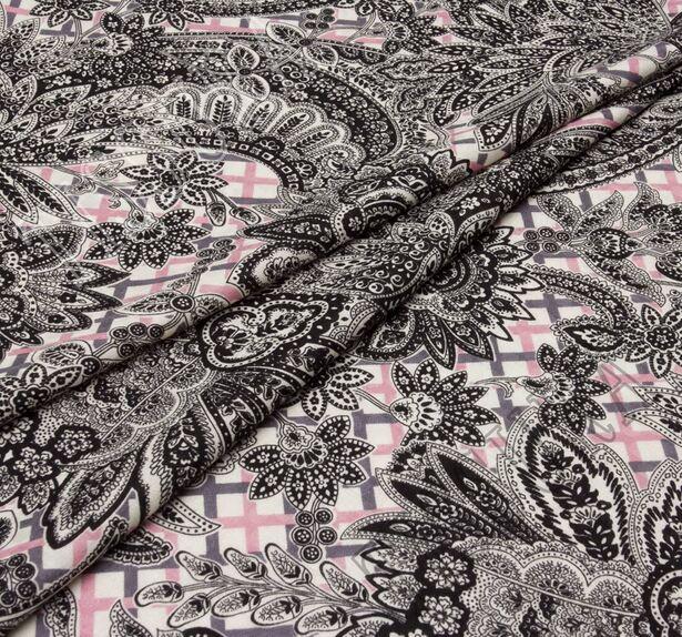 Жаккард из шерсти и шелка с разными узорами #1