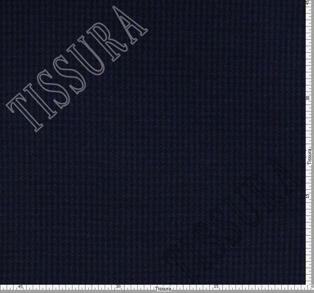 Шерстяной трикотаж двусторонний с эффектом стрейч. Одна сторона — темно-синего цвета, другая — с черно-синим рисунком пье-де-пуль #2