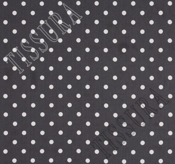 Жоржет из 100% шелка: классический дизайн – белый горошек на черном фоне #2