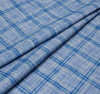 Лён - полотно синего цвета в клетку салатового и темно-синего цветов #1
