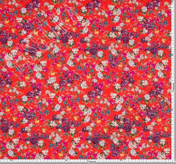 100% итальянский хлопок с растительным дизайном: синий, белый, розовый на красном фоне. #2