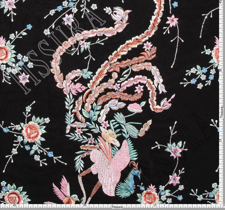 Креп-сатин шелковый с вышивкой #2