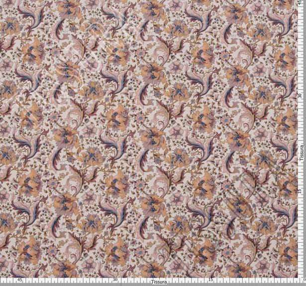 Поплин из 100% хлопка: на белом фоне которой расположены коричнево-розовые цветы #2