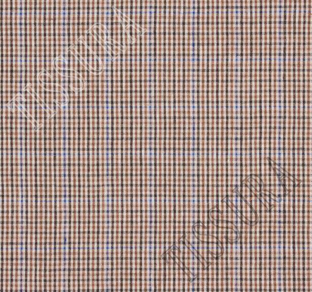 Лен в мелкую клетку в коричневом, бежевом и синем цветах #2