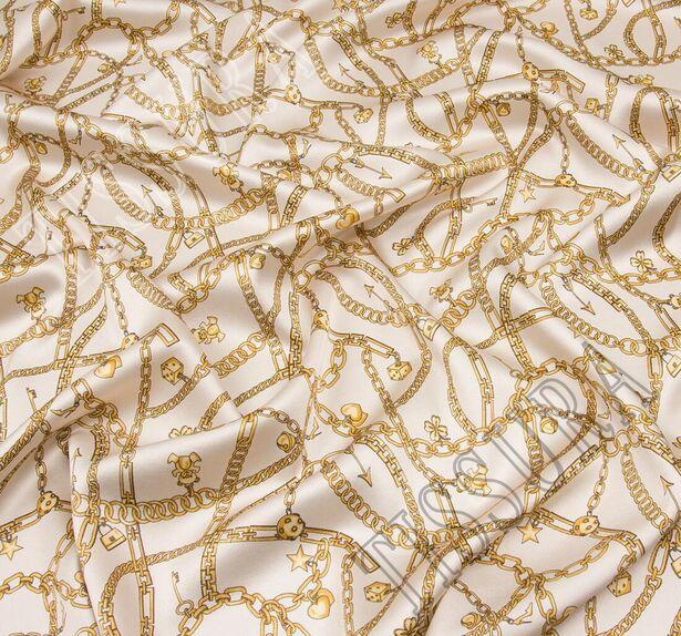 Атлас стрейч с изображением золотистых цепей #1