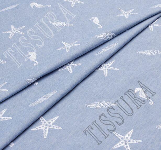 Хлопок голубой с вышивкой в виде звёзд и морских коньков #1
