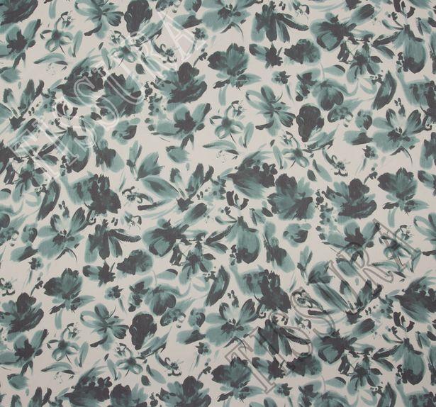 Ткань жоржет из 100% шелка, цветочный принт на молочном фоне: основные цвета узора – зеленый и темно-зеленый #1