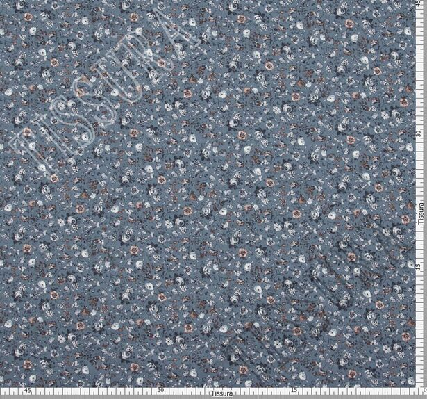 Ткань из натурального хлопка: цветы в голубых, молочных, светло-коричневых тонах на серо-голубом фоне. #2