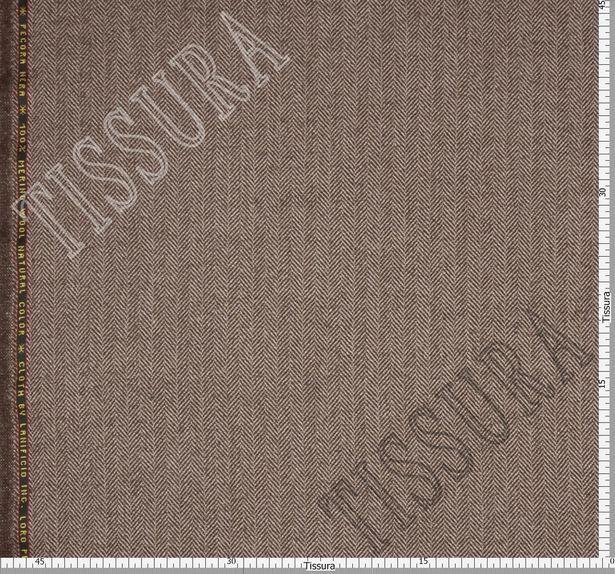 Ткань из шерсти 686025 Pecora Nera® в бежево-коричневую «ёлочку»  #3