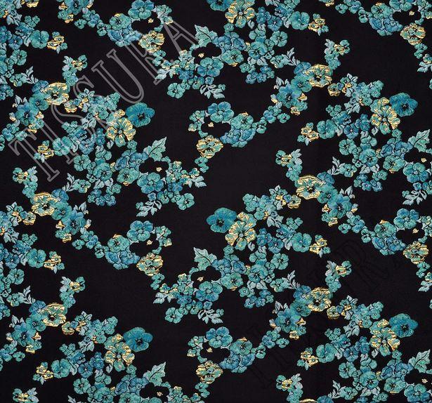 Жаккард с узором в виде ярких голубых цветов #3