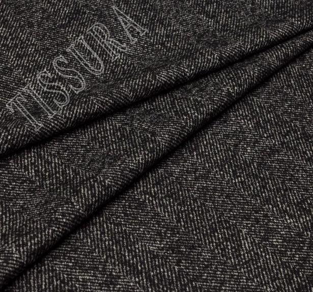 Пальтовая ткань с водоотталкивающей пропиткой в черно-белую крупную «ёлочку» #1