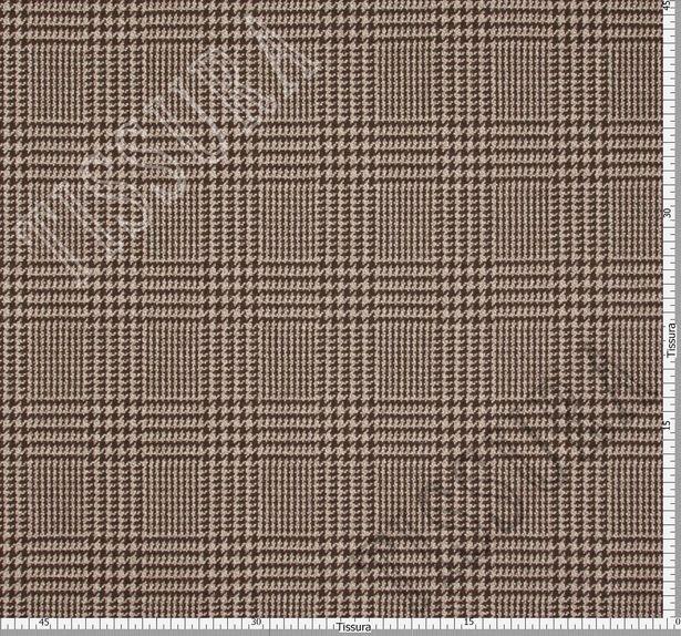 Ткань из шерсти Pecora Nera® в бежево-коричневую клетку «Принц Уэльский» #3