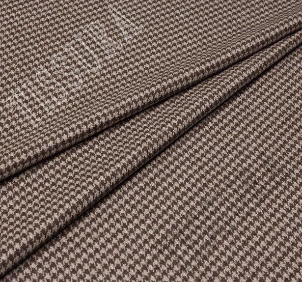 Ткань из шерсти 686027 Pecora Nera® в бежево-коричневую клетку «гусиная лапка» #1