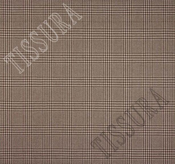 Ткань из шерсти Pecora Nera® в бежево-коричневую клетку «Принц Уэльский» #2