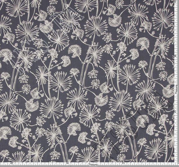 Ткань жоржет из 100% шелка, белый растительный принт на темно-синем фоне #2