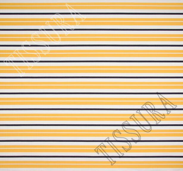 Жаккард белый в желтую и черную полоску #3