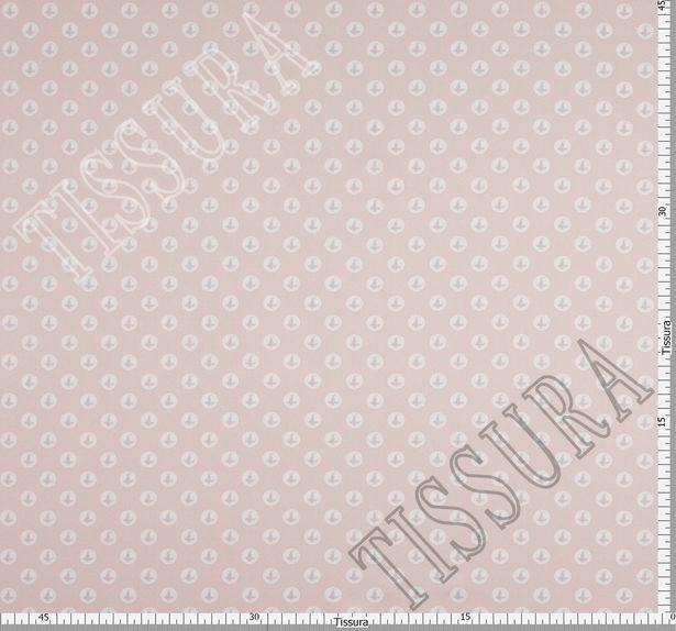 Атлас стрейч с жемчужинами на пудрово-розовом фоне #3