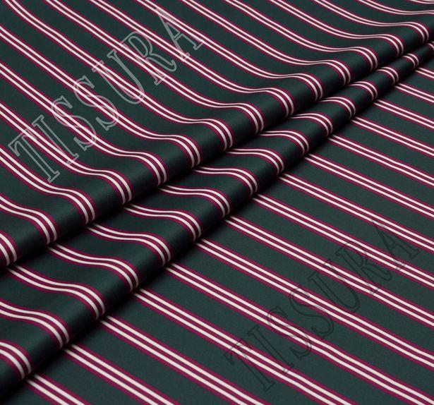 Твил из 100% хлопка высочайшего качества – яркая бордово-белая полоска на темно-сером фоне #1