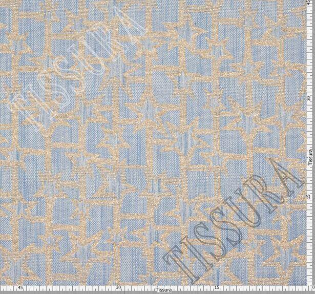 Жаккард светло-голубой с золотистым рисунком #2