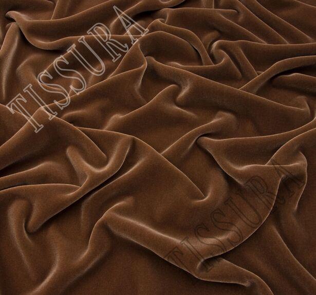 Французский шелковый бархат «Империя» светло-коричневого цвета #1