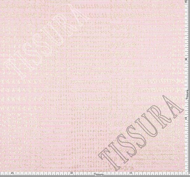 Жаккард-букле нежно-розового оттенка в золотистую клетку  #2