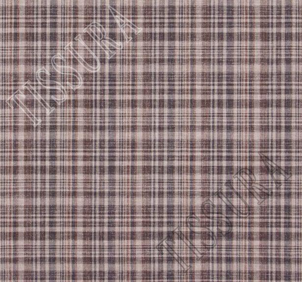 Ткань в клетку из шерсти и шелка, выполненная в коричневом, бежевом и сером цветах #2