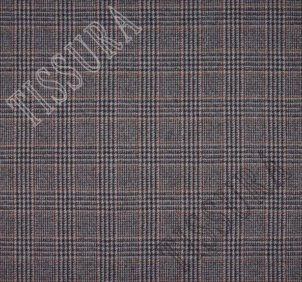 Костюмная ткань из шерсти мериноса и сури альпака: коричнево-голубая клетка «Принц Уэльский» #2