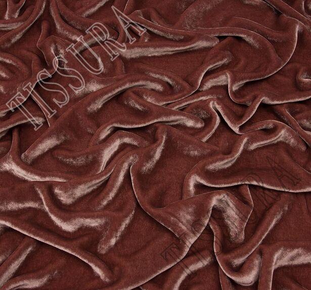 Итальянский бархат из вискозы и шелка цвета пыльной розы #1