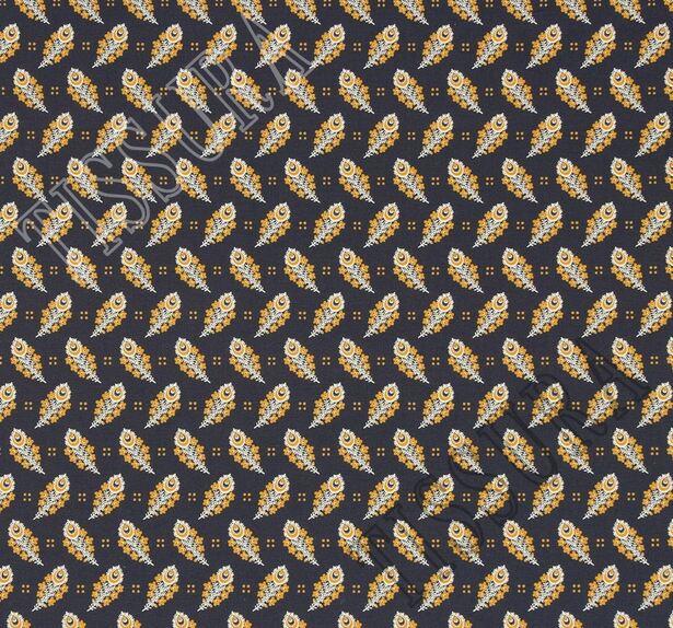 Поплин из 100% хлопка темно-синего цвета с эксклюзивным принтом пейсли в желто-белой гамме #3