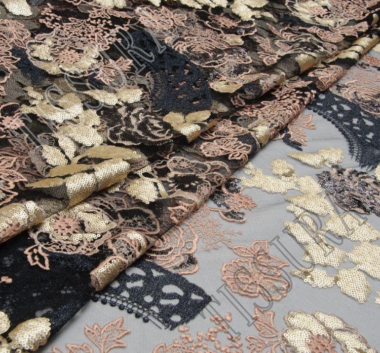 Сетка с вышивкой и пайетками  #1