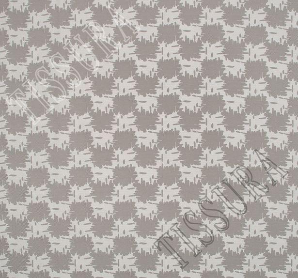 Жаккард двусторонний серо-белого цвета с абстрактным рисунком #4