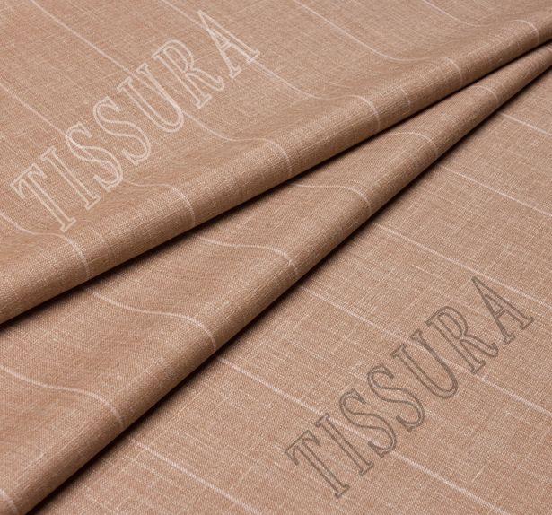 Шерсть двусторонняя из мериносовой шерсти, шелка и льна светло-коричневого цвета в бежевую полоску #2