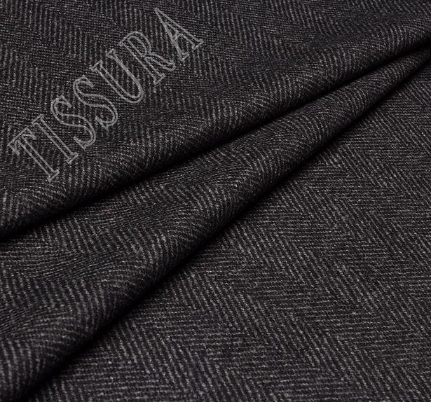 Пальтовая ткань темно-серого цвета в классическую ёлочку #2