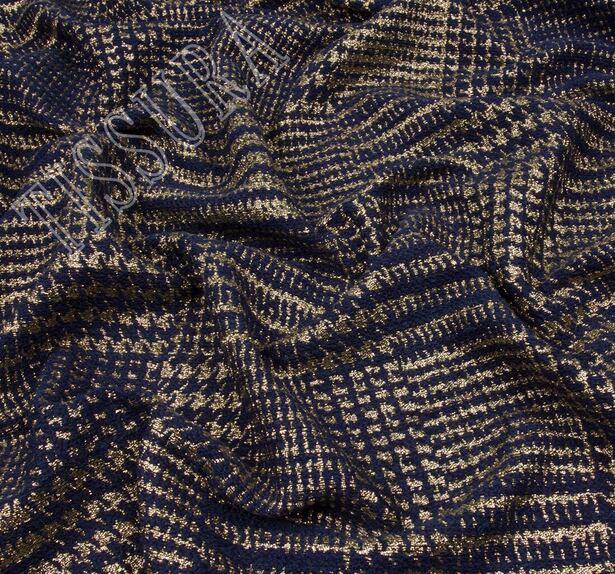 Жаккард-ламе темно-синего оттенка в золотистую клетку #4