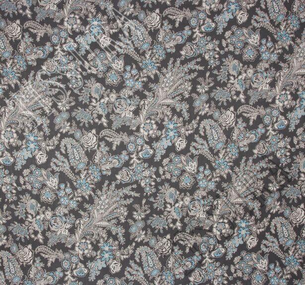 Жоржет - сочетание растительного принта и пейсли на черном фоне #3