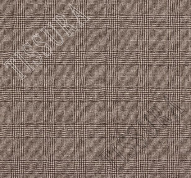 Костюмная ткань из шерсти Pecora Nera® в бежево-коричневую клетку «Принц Уэльский» #2