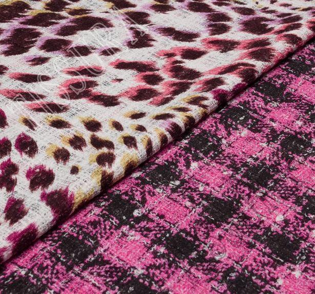Ткань «рогожка» из фасонных нитей двусторонняя с принтом #1