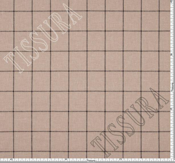 Лён из 100% льняной пряжи, скрученной из 3 нитей, на бежевом фоне коричневая клетка #3