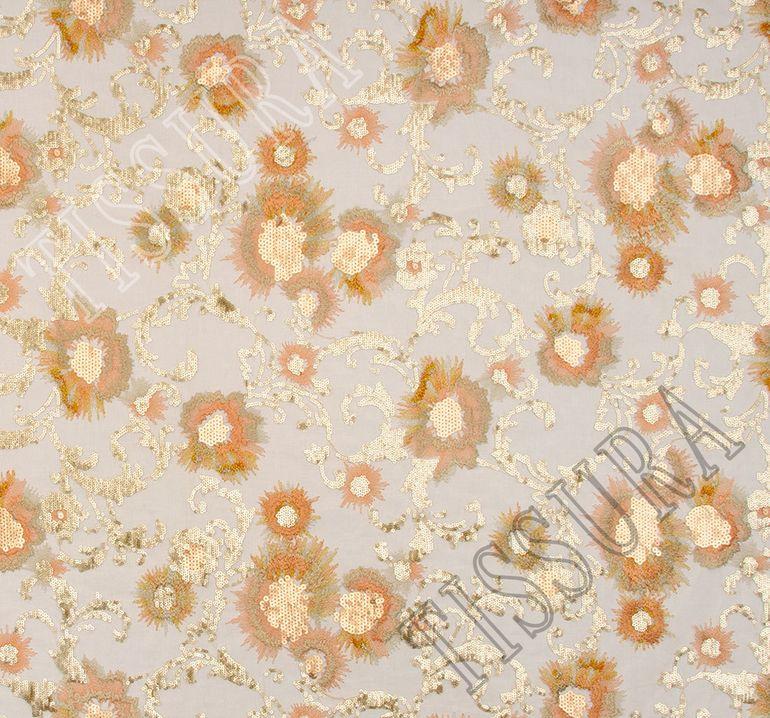 Сетка с вышивкой, декорированная пайетками #3