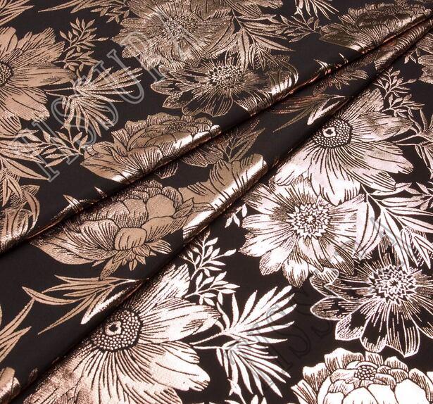 Парча черная с крупными медными цветами  #1