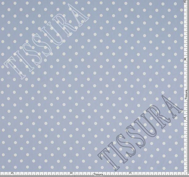 Жоржет из 100% шелка: классический дизайн – белый горошек на светлом серо-голубом фоне #3
