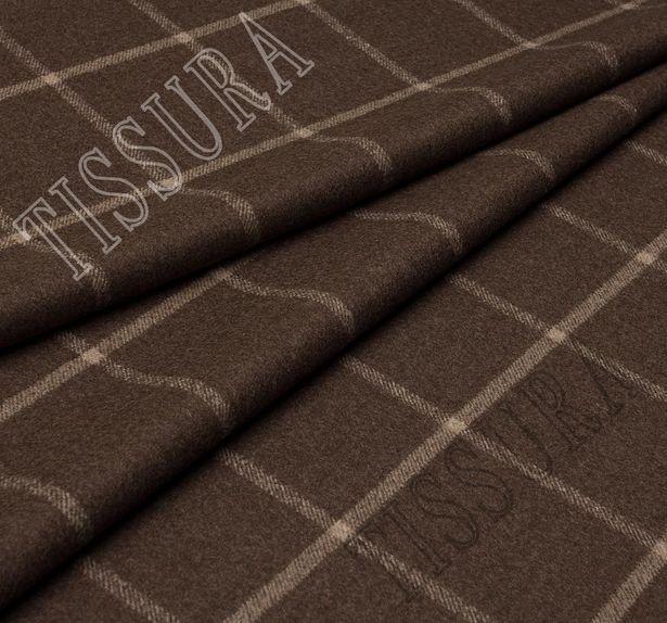 Двусторонняя пальтовая ткань из шерсти Pecora Nera® коричневого и бежевого оттенков #2