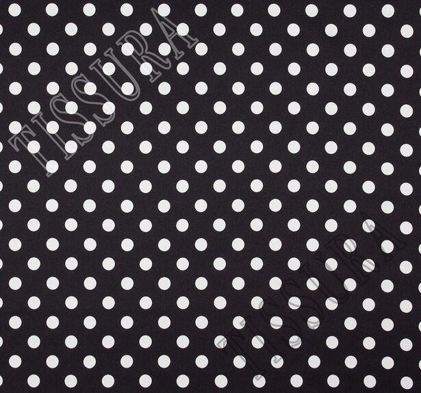 Атлас-стрейч в горошек на черном фоне #3