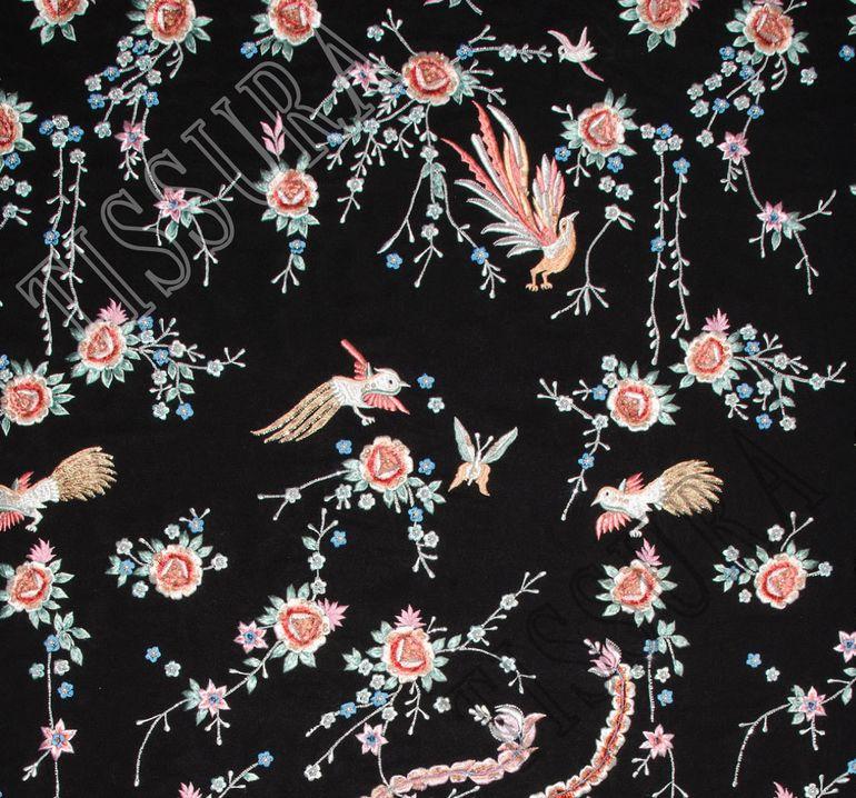 Креп-сатин шелковый с вышивкой #1
